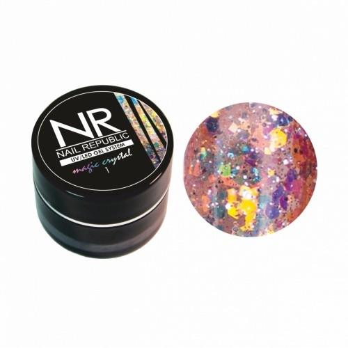 Гель-лак NR Гель-краска MAGIC CRISTAL №1 с блестками (7 гр) для маникюра